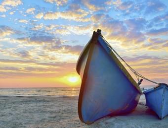 blue fisherman boats