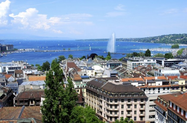 View of Geneva Lake &  Jet d'Eau from the Old Town