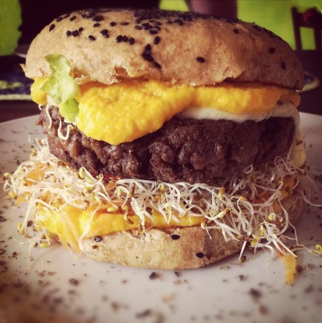 Giant Veggie Burger from Paraiso dos Pandavas by GiridhariDas