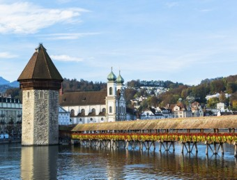 wooden Chapel bridge and old town of Lucerne, Switzerland