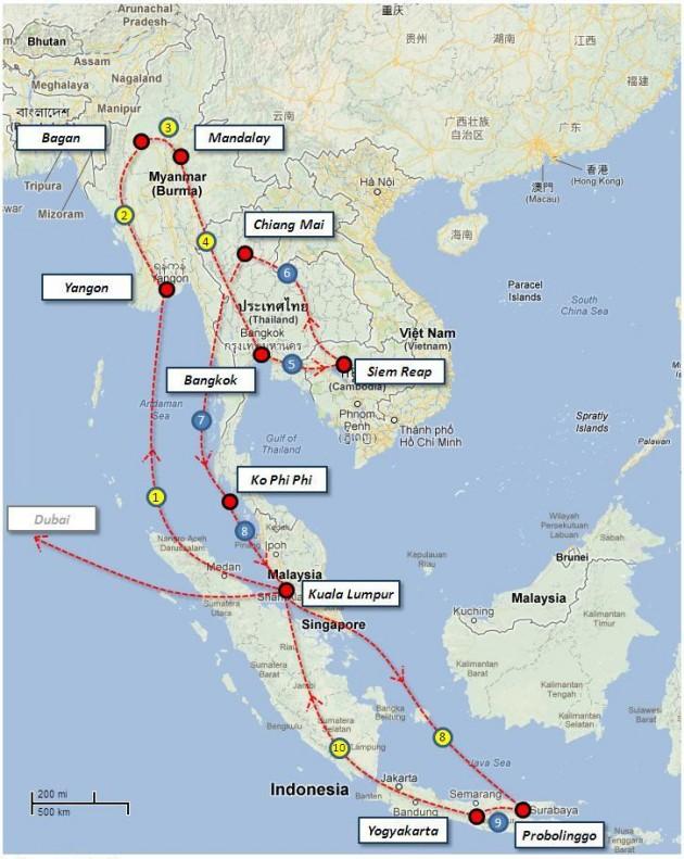 Roteiro Sudeste Asiatico